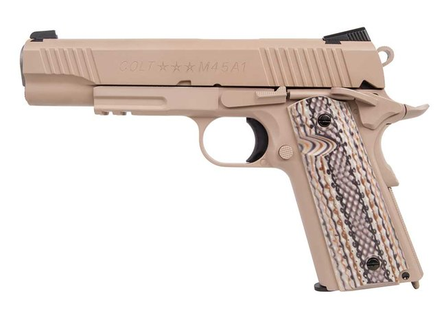 Colt 1911 Railgun Vollmetall CO2 Softair Blow Back, tan