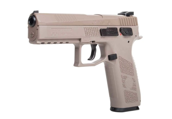 CZ 75 P-09 Duty Co2 Pistole Metalslide BlowBack Tan cal. 4,5mm Diabolo und Stahl BB - Set